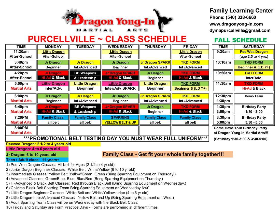 Purcellville Fall Schedule